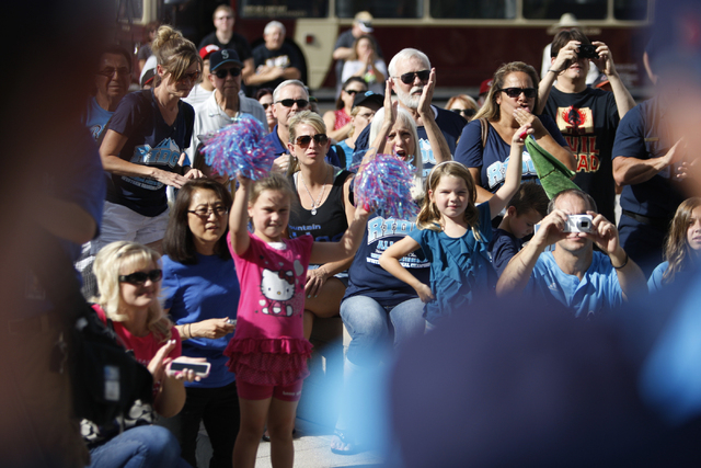 Fans cheer for the Mountain Ridge Little League team during a ceremony to honor the team for their Little League World Series performance at Las Vegas City Hall in Las Vegas Saturday, Aug. 30, 201 ...