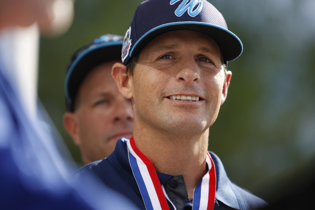 Mountain Ridge Little League manager Ashton Cave is introduced during a ceremony to honor his team for their Little League World Series performance at Las Vegas City Hall in Las Vegas Saturday, Au ...