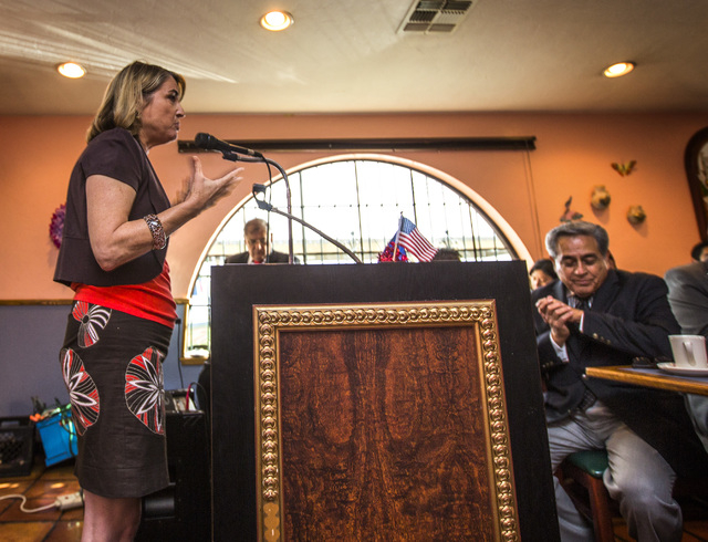 Nevada Treasurer Kate Marshall, a Democrat running for secretary of states, speaks during the Hispanics in Politics group breakfast at Dona Maria Tamales Restaurant, 910 South Las Vegas Boulevard  ...