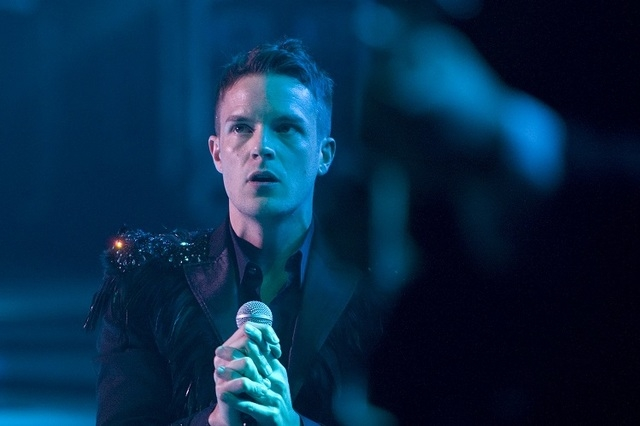 Brandon Flowers of The Killers performs with the band to a sold-out crowd during the opening night of The Joint at the Hard Rock Hotel in Las Vegas Friday, April 17, 2009. (JOHN LOCHER/LAS VEGAS R ...