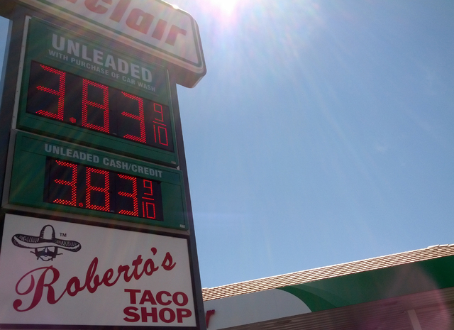 A gasoline station advertising regular unleaded gasoline for nearly $3.84 a gallon draws little customer traffic on Friday, Aug. 29, 2014, in Las Vegas, Nev. (Daniel Behringer/Las Vegas Review-Jou ...