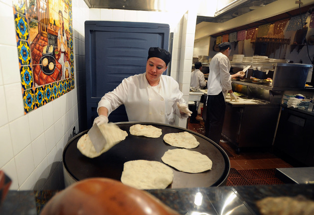 Cook Marie Teresa prepares tortillas in the kitchen at Lindo Michoacan La Loma restaurant in Henderson on Sunday, March 30, 2014. (David Becker/Las Vegas Review-Journal)