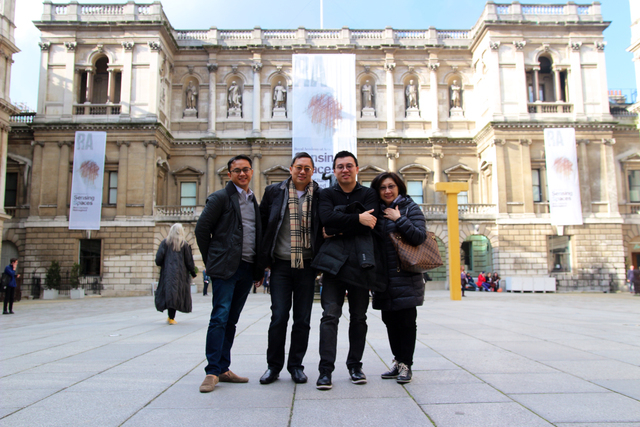 This picture was taken in London in March of this year in front of the Royal Academy of Arts. The person on the far left is Donnell Bayot, Director of Academic Affairs, next to him is my brother M ...