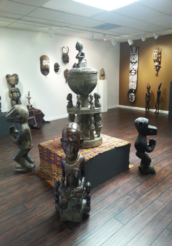 Statues are seen on display at the Rhythms of Africa exhibition at the Left of Center Art Gallery, 2207 W. Gowan Road, July 2014. An official ribbon cutting is set at 5 p.m. Aug. 29 and an opening ...