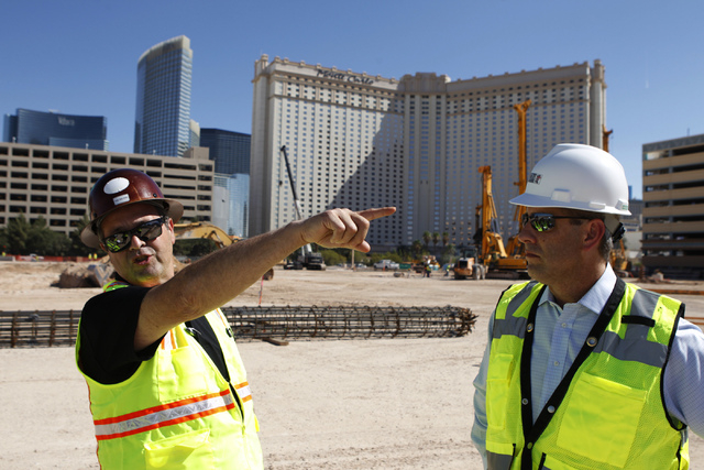 Anthony Leone, left, director of construction development at MGM Resorts International, and Rob Stephens, senior vice president at ICON Venue Group, give a tour of the construction site of the MGM ...