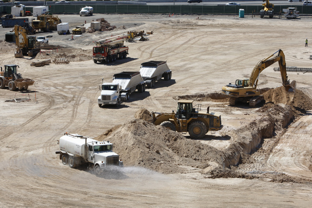 The construction site of the new MGM Resorts International and AEG indoor arena located behind the New York-New York casino-hotel in Las Vegas is seen during a tour Thursday, Aug. 14, 2014. The ar ...