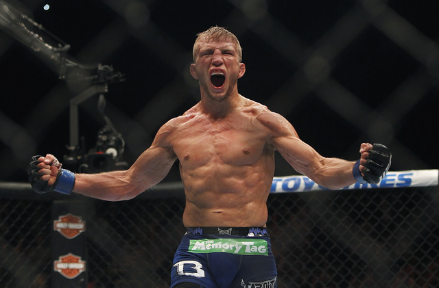 TJ Dillashaw celebrates after defeating Renan Barao during UFC 173 at the MGM Grand Garden Arena in Las Vegas on Saturday, May 24, 2014. Dillashaw defended his title successfully on Saturday at UF ...