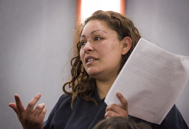 Shavon Carrillo, also known as Shavon Aguilar, makes her initial appearance at Regional Justice Center on Thursday, May 29, 2014, on attempted murder charge in the shooting of her 11-year-old son. ...