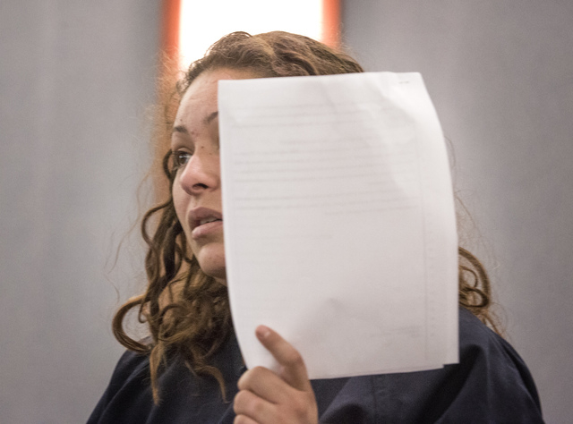 Shavon Carrillo, the mother who faces an attempted murder charge in the shooting of her 11-year-old son, makes her initial appearance at the Regional Justice Center on Thursday, May 29,2014. Justi ...