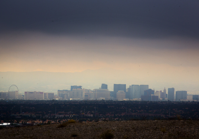 Storm clouds over Las Vegas Strip taken from  I-215 Beltway and Lone Mountain Road  in northwest Las Vegas on Monday, Aug. 4, 2014. (Jeff Scheid/Las Vegas Review-Journal)