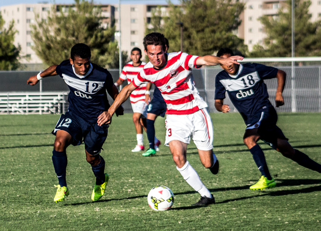 UNLV top recruit Danny Musovski, center, played at Liberty High and was heavily recruited by Washington and Northwestern. He's one of several local players of the UNLV men's soccer team. (Courtesy ...