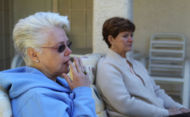 A tear rolls down the cheek of Dee Redwine, left, ass she and Shirley Newsham, both of Las Vegas, discuss Sandi Niccum's painful experiences with the Veterans Administration while talking to a rep ...