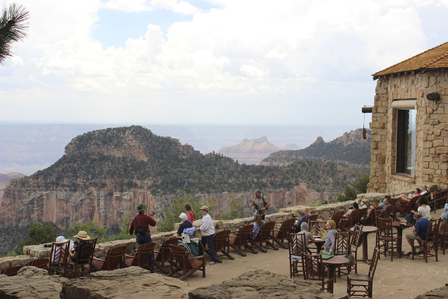 One of the best places to relax after a day of hiking and sightseeing at the North Rim is on the back porch of the Grand Canyon Lodge. (DEBORAH WALL/SPECIAL TO VIEW)
