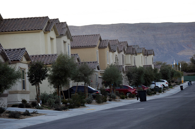 New homes are seen along Lady Apple Drive in the Sedona neighborhood located near W. Tropicana Avenue and Hualapai Way on Thursday, Dec. 26, 2013. (David Becker/Las Vegas Review-Journal)