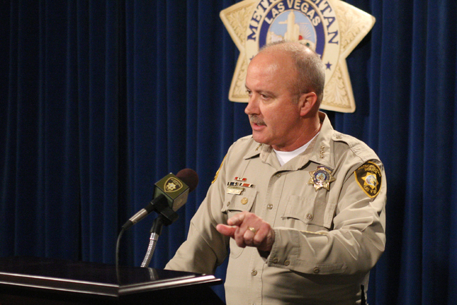 Undersheriff Jim Dixon briefs the press with a detailed report on two recent officer involved shootings that occurred on August 3rd and 11th, 2014. (Michael Quine/Las Vegas Review-Journal)