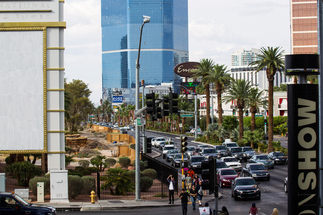 The land where the New Frontier hotel-casino once stood is seen on left adjacent to Las Vegas Boulevard, north of Spring Mountain Road in Las Vegas on Thursday, July 31, 2014. (Chase Stevens/Las V ...