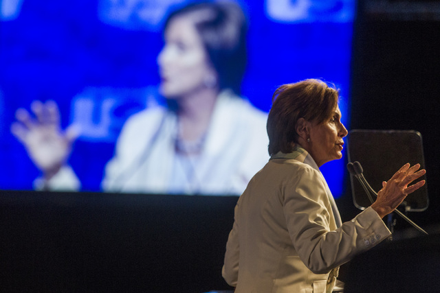 House Minority Leader Nancy Pelosi, D-Calif., addresses the annual United Steelworkers convention, at the MGM Grand Convention Center on Monday, Aug. 11, 2014. Around 2,500 delegates are expected  ...