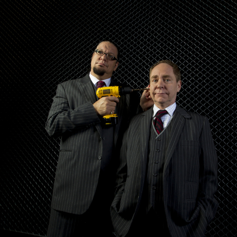 Comedic magician duo Penn Jillette, left, and Raymond Teller pose on stage at the Penn & Teller Theatre inside the Rio hotel-casino on Aug. 2, 2011, in Las Vegas. (LAS VEGAS REVIEW-JOURNAL FILE)
