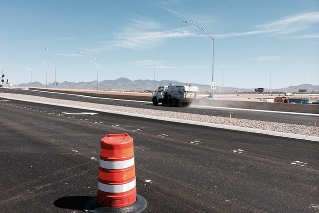 Las Vegas Paving's street sweeper truck is seen prior to the opening of Cactus Interchange at the corner of Cactus Avenue and Dean Martin Drive. (Bizuayehu Tesfaye/Las Vegas Review-Journal)