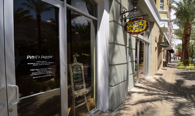 The exterior of Pinot's Palette is shown in The District at Green Valley Ranch at 2260 Village Walk Drive in Henderson on Thursday, Aug. 14, 2014. The business is scheduled to open on Aug. 21. (Bi ...