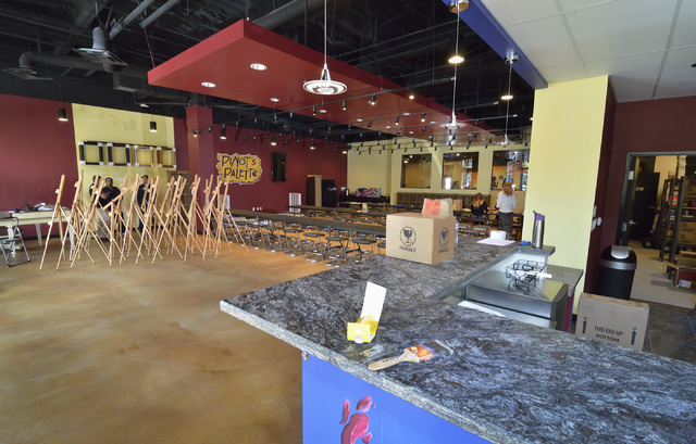 The interior of Pinot's Palette is shown in The District at Green Valley Ranch at 2260 Village Walk Drive in Henderson on Thursday, Aug. 14, 2014. The business is scheduled to open on Aug. 21. (Bi ...