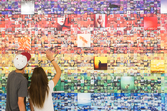 Fifteen-year-olds Elliot Trask and Mazeli Jimenez, both of Las Vegas, look at a display at the Polaroid Museum at Polaroid Fotobar at The Linq in Las Vegas on Wednesday, June 25, 2014. (Chase Stev ...