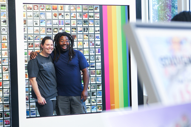 Jackie Peterson, left, and Benji Peterson, both of Indianapolis, pose for a photo at Polaroid Fotobar at The Linq in Las Vegas on Wednesday, June 25, 2014.(Chase Stevens/Las Vegas Review-Journal)