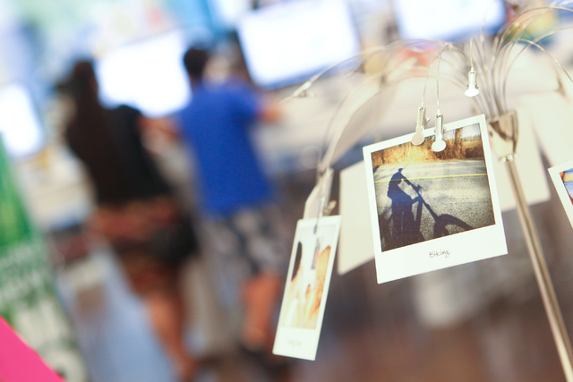 Polaroid photos are seen on display at Polaroid Fotobar at The Linq in Las Vegas on Wednesday, June 25, 2014. (Chase Stevens/Las Vegas Review-Journal)