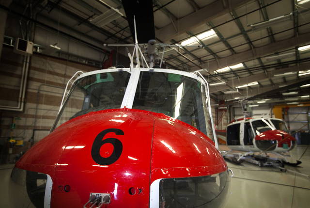 Vietnam-era Bell UH-1 Iroquois, commonly called a Huey, as seen Friday, Aug 29, 2014 in a hangar at the North Las Vegas Airport . Metro received helicopters from military surplus in 1998 (Jeff Sch ...