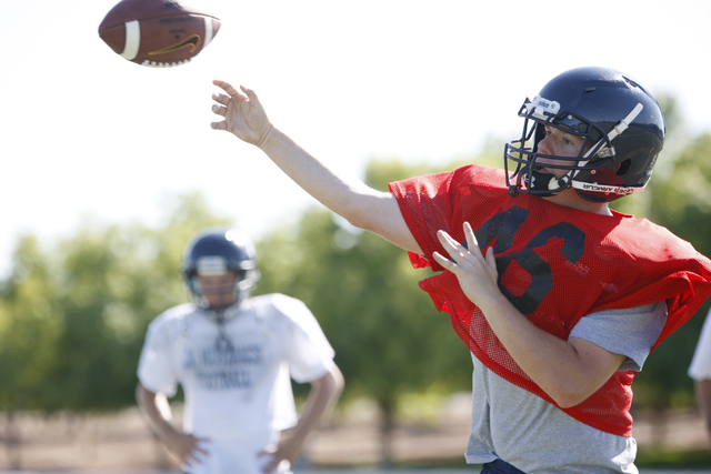 The Meadows quarterback Jake Gleason throws a pass during practice. Gleason passed for 1,138 yards and 10 TDs last fall. (Erik Verduzco/Las Vegas Review-Journal)