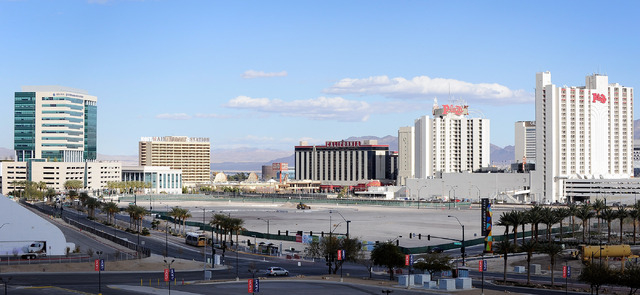 An empty lot where a proposed $390 million downtown arena is seen near Symphony Park on Monday, Feb. 3, 2014. The city of Las Vegas recently gave the Cordish Companies a four-month extension to fi ...