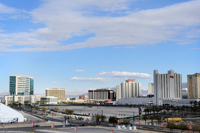 An empty lot where a proposed $390 million downtown arena is seen near Symphony Park on Feb. 3. The city of Las Vegas recently gave Cordish Co. a four-month extension to finish its funding plan. ( ...