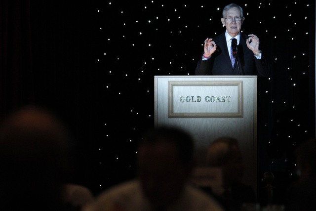 U.S. Sen. Harry Reid, D-Nev., speaks during the Asian Chamber of Commerce's monthly lunch at the Gold Coast casino-hotel in Las Vegas Thursday, Aug. 21, 2014. (Erik Verduzco/Las vegas Review-Journal)