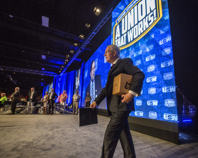 U.S. Sen. Harry Reid, D-Nev. during the annual United Steelworkers convention at the MGM Grand Convention Center on Wednesday, Aug. 13, 2014. Around 2,500 delegates are expected to attend the four ...
