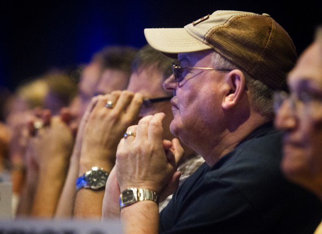 People during the annual United Steelworkers convention at the MGM Grand Convention Center on Wednesday, Aug. 13, 2014. Around 2,500 delegates are expected to attend the four day convention which  ...