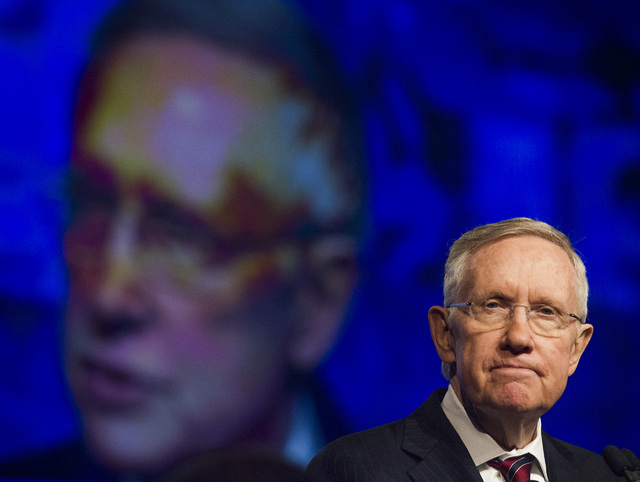 U.S. Sen. Harry Reid, D-Nev. addresses the annual United Steelworkers convention at the MGM Grand Convention Center on Wednesday, Aug. 13, 2014. Around 2,500 delegates are expected to attend the f ...