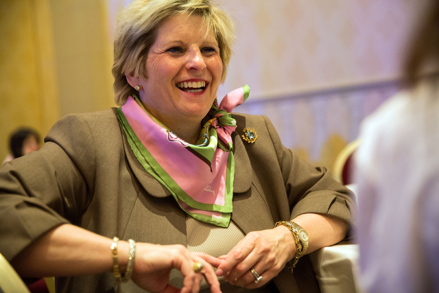 "Mindy Bloom talks about ""The Uplift Project"" during the Hadassah National Convention at The Venetian on Wednesday, July 23, 2014. The project, aimed to raise awareness of breast cancer,  ..."
