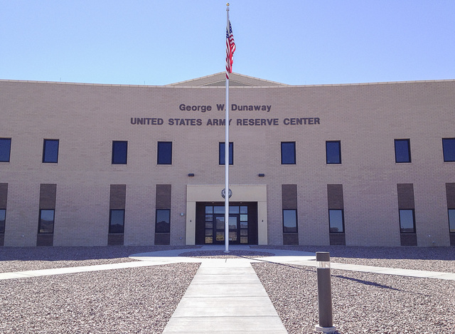 The George W. Dunaway Army Reserve Center in Sloan, as seen Aug. 15, 2014, is open for drills but arsenic in its water supply well requires soldiers to use bottled water for drinking and sanitary  ...