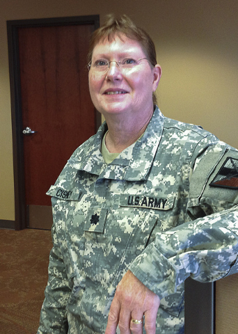 Lt. Col. Debra Cisney, commander of the 63rd Brigade Support Battalion, stands inside the George W. Dunaway Army Reserve Center in Sloan during visit on Aug. 15, 2014. (Keith Rogers/Las Vegas Revi ...