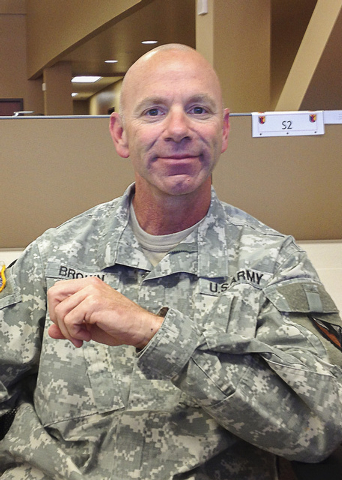 Maj. Jerry A. Brown, the executive officer at the George W. Dunaway Army Reserve Center, talks about the center's opening events planned for April 5, 2015, during an interview Aug. 15, 2014. (Keit ...