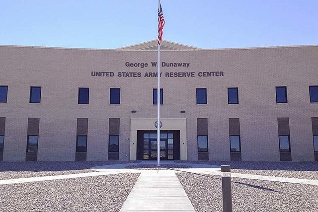 The George W. Dunaway Army Reserve Center in Sloan, as seen Aug. 15, 2014, is open for drills but lead in wells that supply water require soldiers to use bottled water for drinking and they must u ...