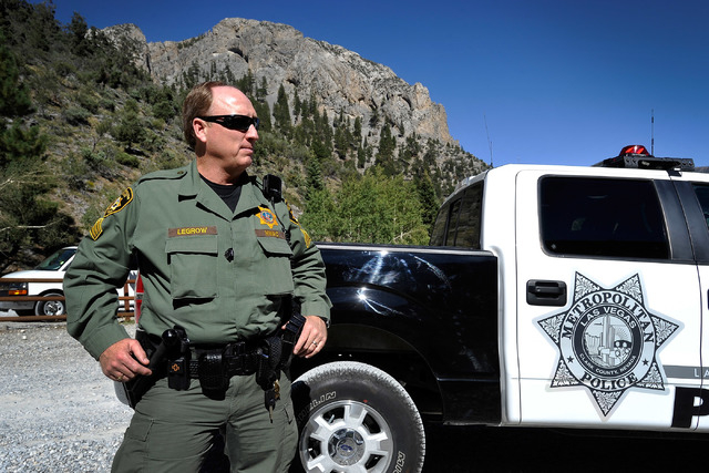 Las Vegas police Sgt. Andy LeGrow patrols the Mary Jane Fall trailhead on Mount Charleston on Tuesday, Aug. 26, 2014. LeGrow leads a team of six officers that patrol the unincorporated area northw ...