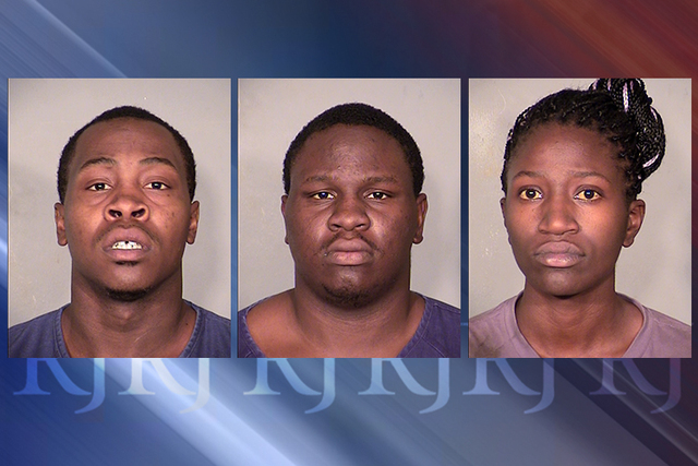 Darian Christopher Owens, 25, Tevin Tyree Owens, 21, and Precious Carroll, 24, were arrested in connection with a string of June store robberies, Las Vegas police said Tuesday. (Courtesy Las Vegas ...
