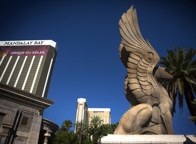 Mandalay Bay, left, and  Delano Las Vegas, formerly THEhotel, as seen Wednesday, Aug. 6, 2014.  The 1,100-room nongaming hotel is a collaboration between MGM Resorts and the Morgans Hotel Group, w ...