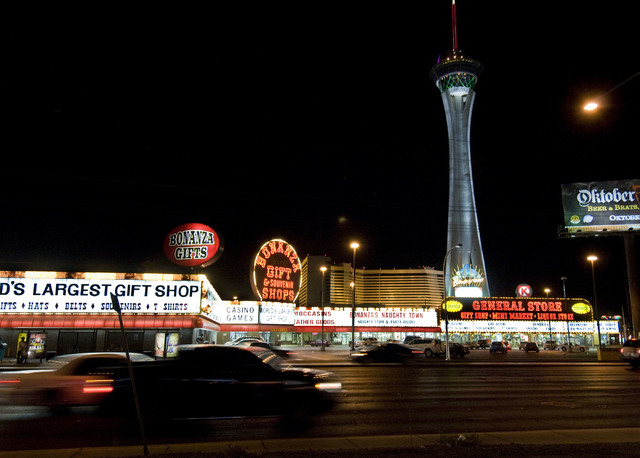 The lights of the Bonanza Gift Shop and the Stratosphere Tower light up Las Vegas Boulevard north of Sahara, on Monday, Oct. 19, 2009. Las Vegas Boulevard, north of Sahara Avenue to Washington Ave ...