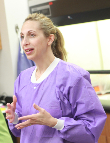Dr. Barbara St. Pierre Schneider talks to students during the Science Summer Camp in the Rod Lee Bigelow Health Sciences building at UNLV on Wednesday, Aug. 6, 2014. The camp, led by Dr. Barbara S ...
