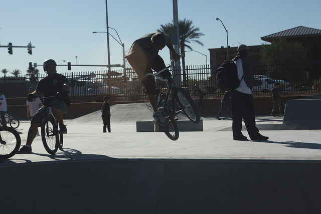 A BMX rider performs a trick at Craig Ranch Regional Park skate park, 628 W. Craig Road, in North Las Vegas, in October 2013. (Special to View)