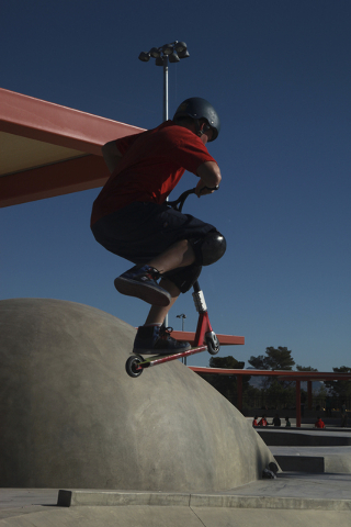 A scooter rider performs a trick at Craig Ranch Regional Park skate park, 628 W. Craig Road, in North Las Vegas, in October 2013. (Special to View)