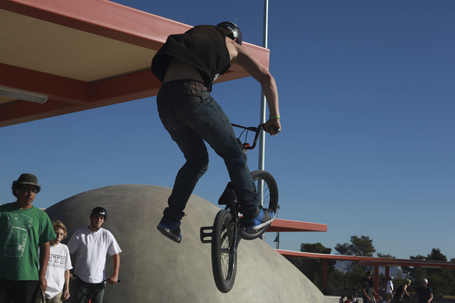 A BMX rider performs a trick at Craig Ranch Regional Park skate park, 628 W. Craig Road, in North Las Vegas, in October. 2013. (Special to View)