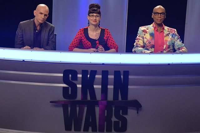 "From left, Craig Tracy, Las Vegan Robin Slonina and RuPaul judge GSN's ""Skin Wars."" (Courtesy photo)"